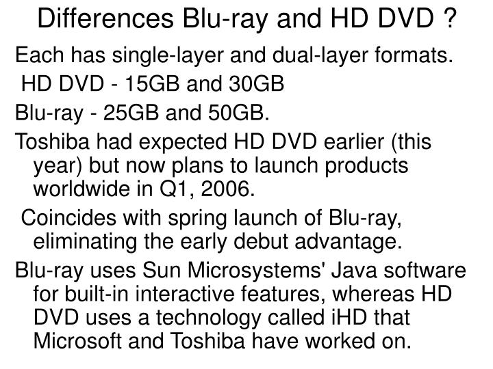Differences Blu-ray and HD DVD ?