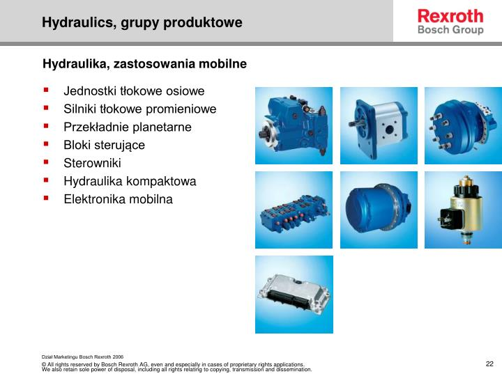 Hydraulics, grupy produktowe