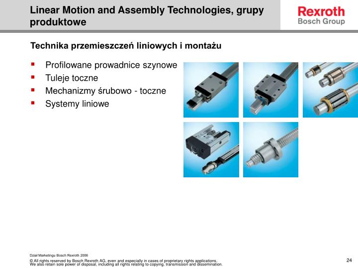 Linear Motion and Assembly Technologies, grupy produktowe