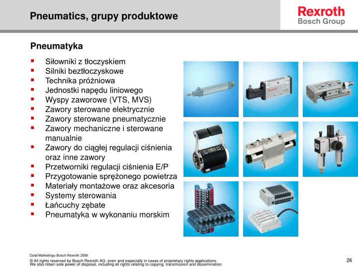 Pneumatics, grupy produktowe