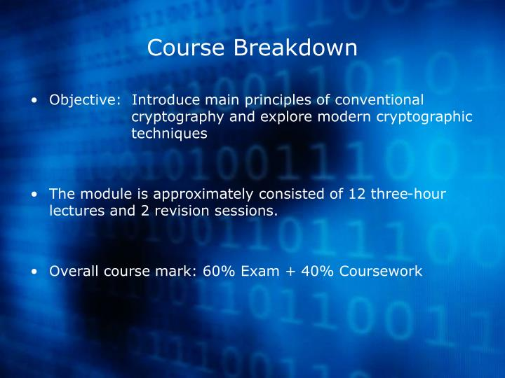 Course breakdown