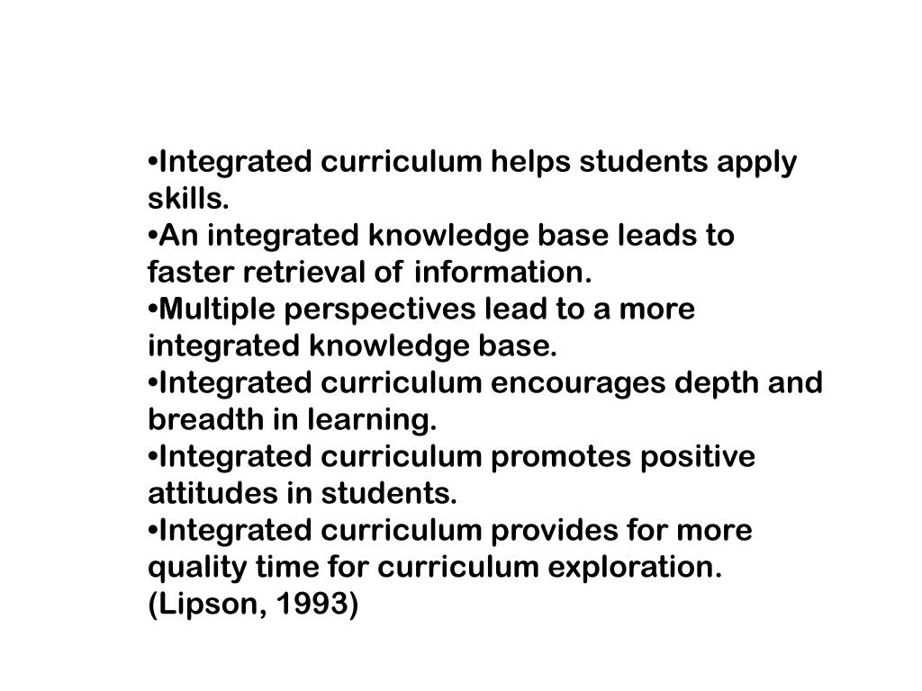 Integrated curriculum helps students apply skills.