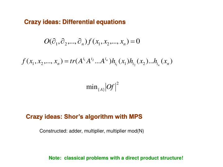 Crazy ideas: Differential equations