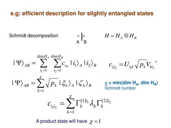 e.g: efficient description for slightly entangled states
