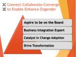 connect collaborate converge to enable enhance engender