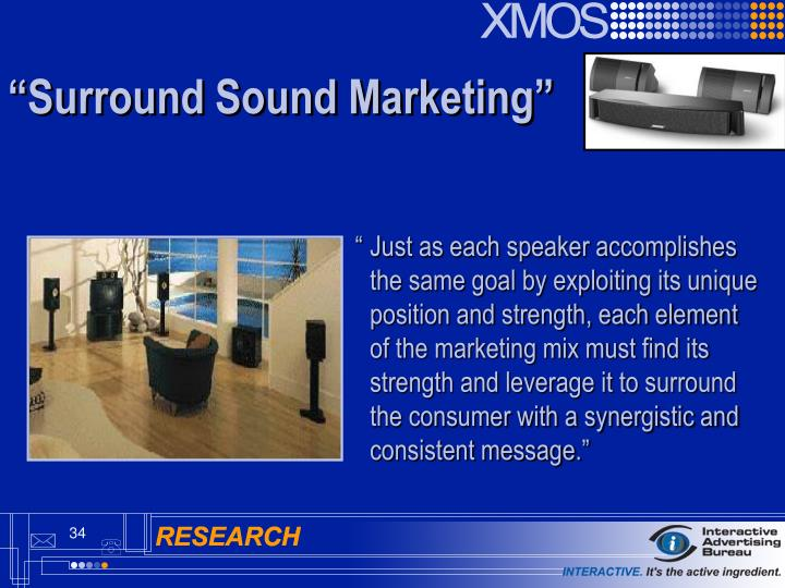"""	Just as each speaker accomplishes 	the same goal by exploiting its unique 	position and strength, each element 	of the marketing mix must find its 	strength and leverage it to surround 	the consumer with a synergistic and 	consistent message."""