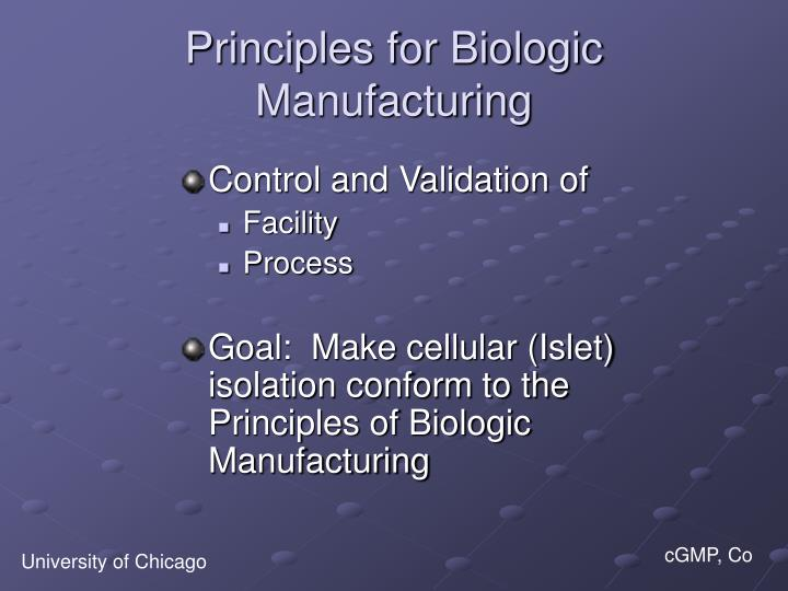 Principles for Biologic Manufacturing
