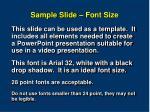 sample slide font size