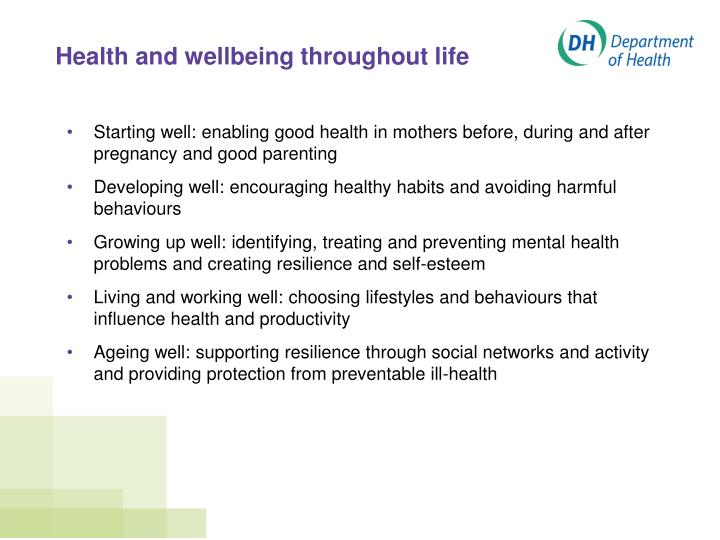 Health and wellbeing throughout life