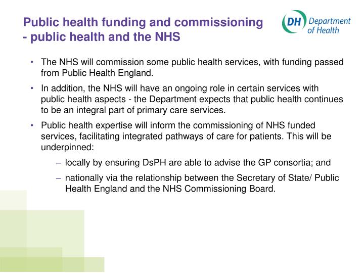 Public health funding and commissioning