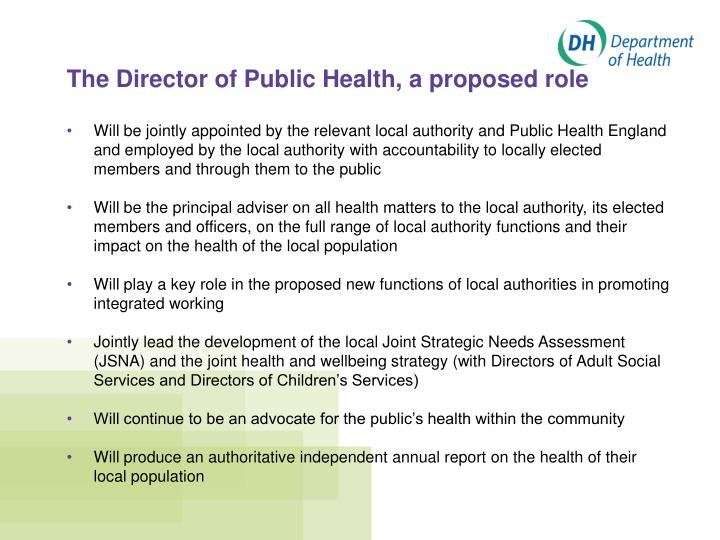 The Director of Public Health, a proposed role
