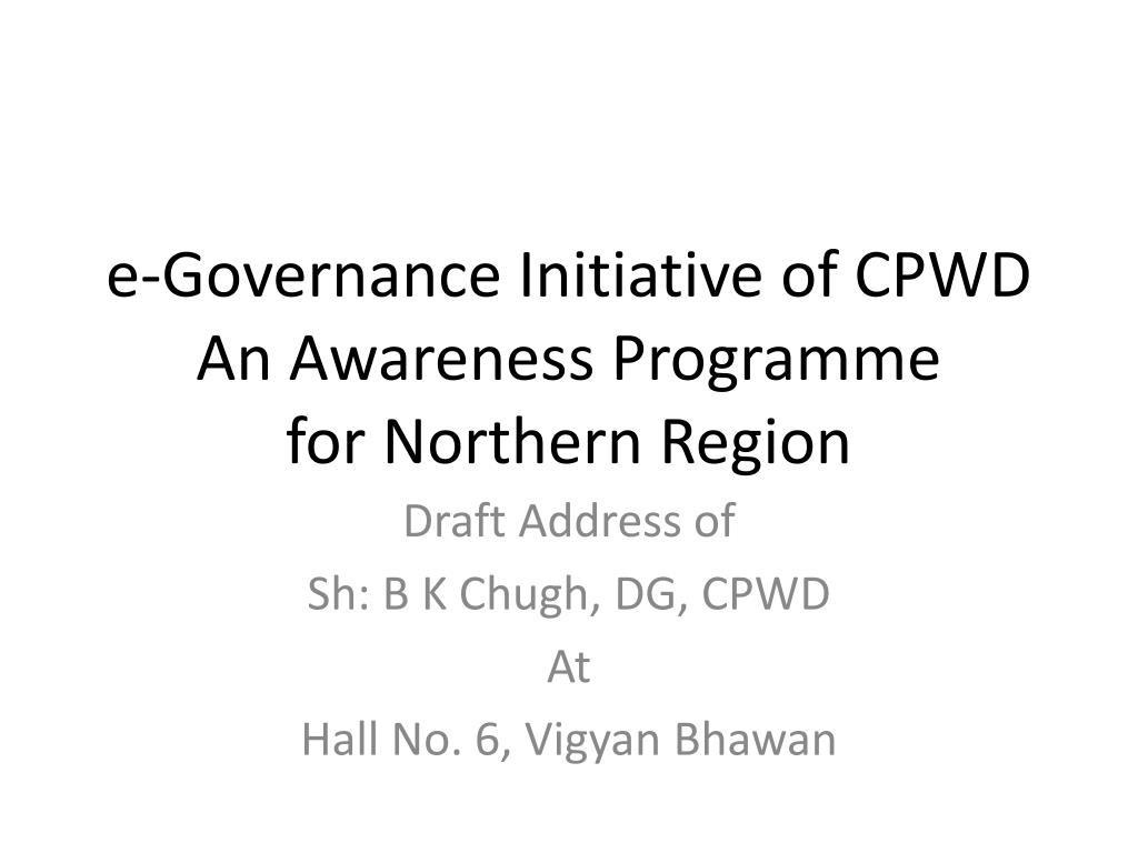 e-Governance Initiative of CPWD
