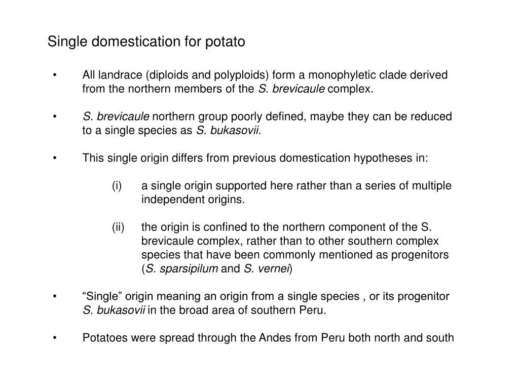 Single domestication for potato