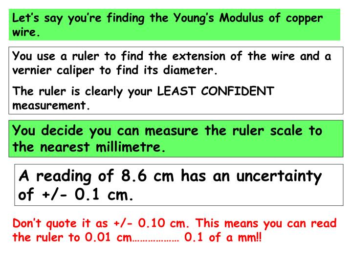 Let's say you're finding the Young's Modulus of copper wire.