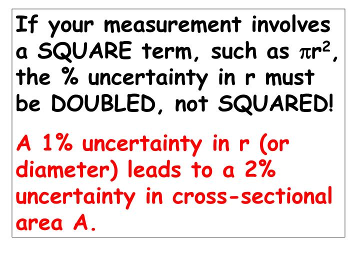If your measurement involves a SQUARE term, such as