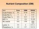 nutrient composition dm