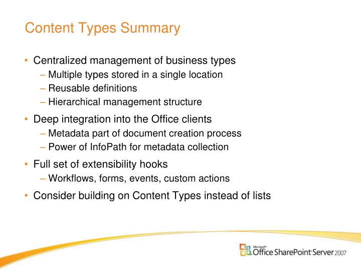 Content Types Summary