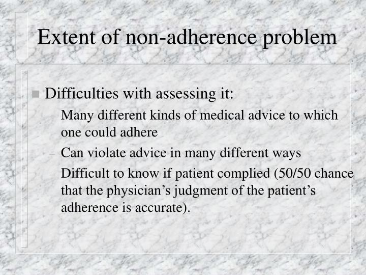 Extent of non adherence problem