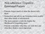non adherence cognitive emotional factors