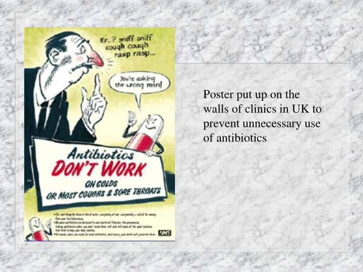 Poster put up on the walls of clinics in UK to prevent unnecessary use of antibiotics