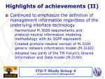highlights of achievements i i