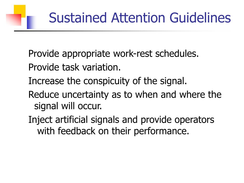 Sustained Attention Guidelines