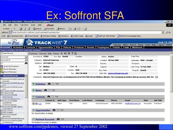 Ex: Soffront SFA
