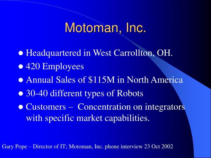 Motoman, Inc.