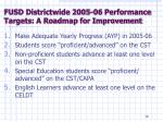 fusd districtwide 2005 06 performance targets a roadmap for improvement