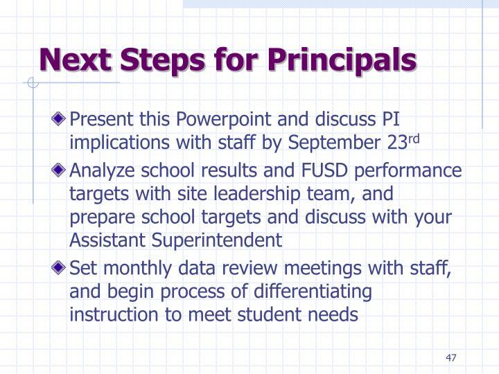 Next Steps for Principals
