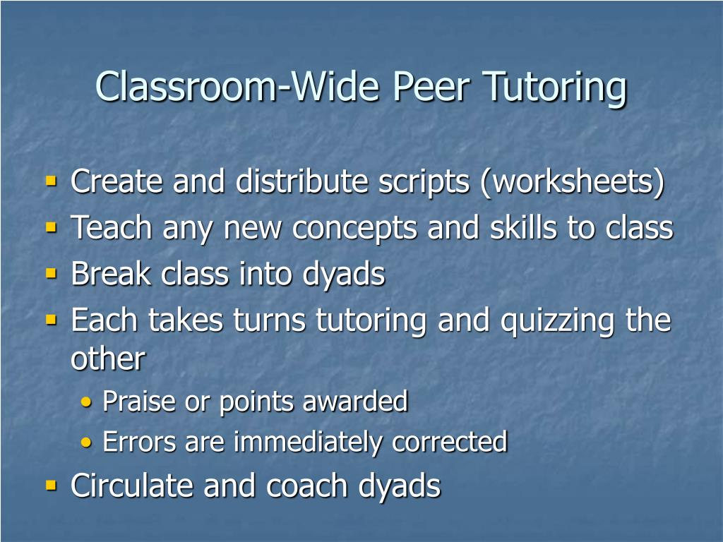 Classroom-Wide Peer Tutoring