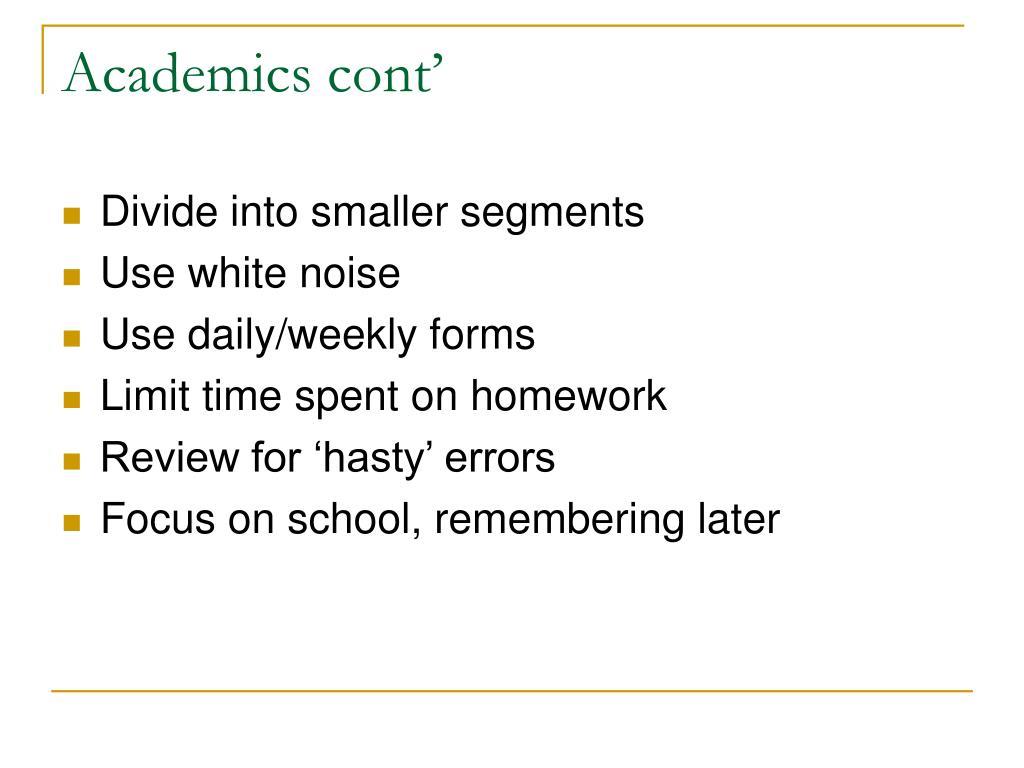 Academics cont'