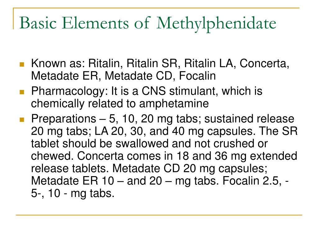 Basic Elements of Methylphenidate
