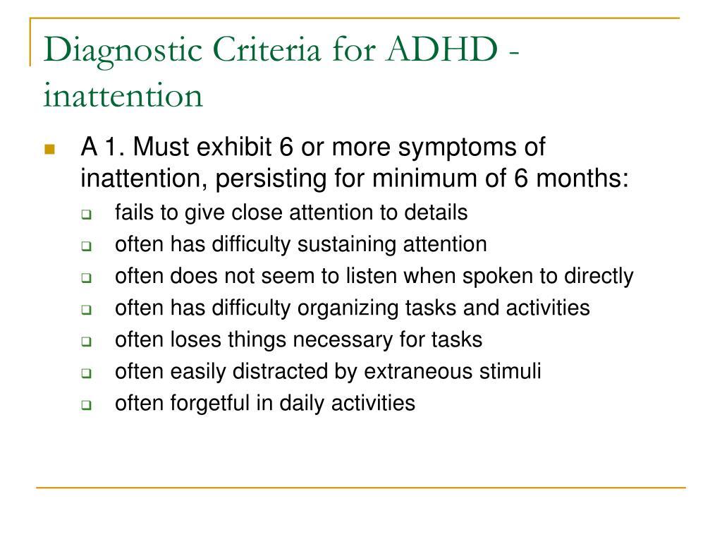 Diagnostic Criteria for ADHD - inattention