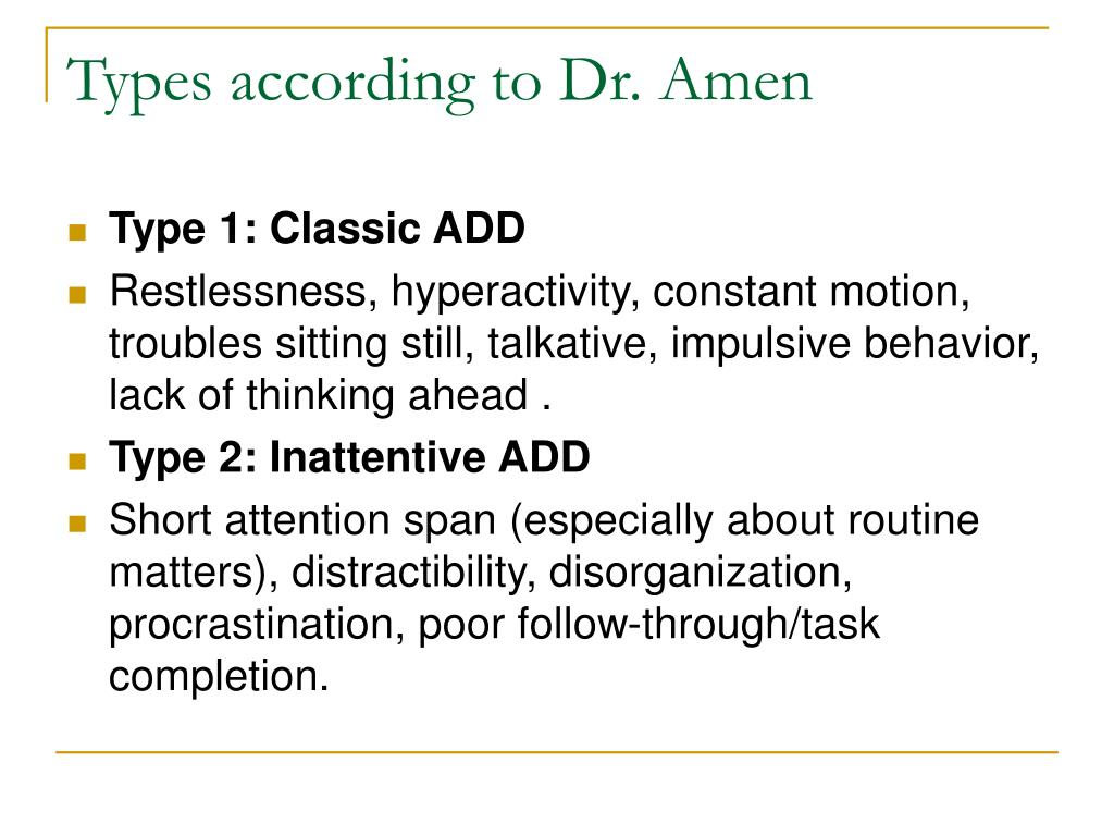 Types according to Dr. Amen