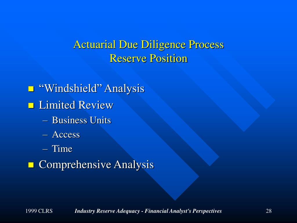 Actuarial Due Diligence Process