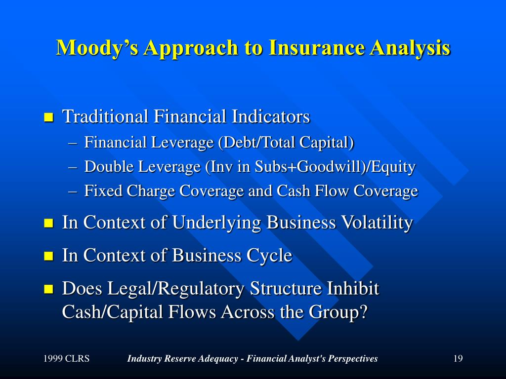 Moody's Approach to Insurance Analysis