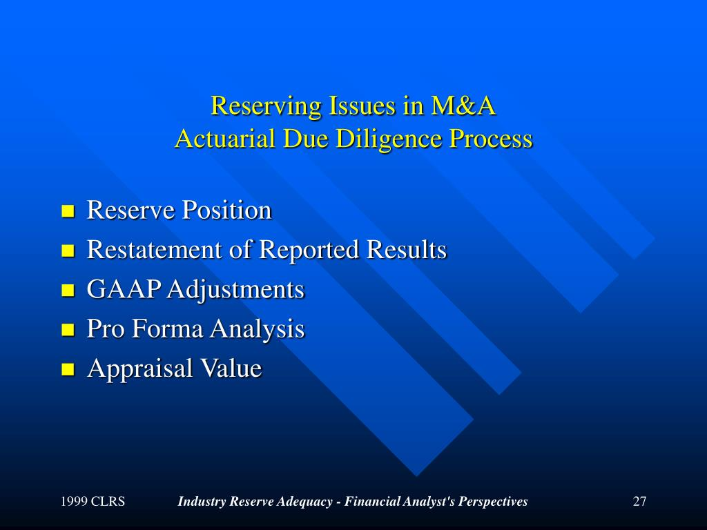 Reserving Issues in M&A