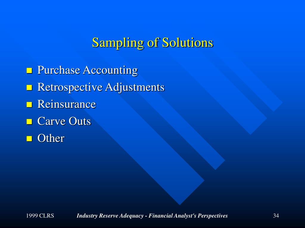 Sampling of Solutions