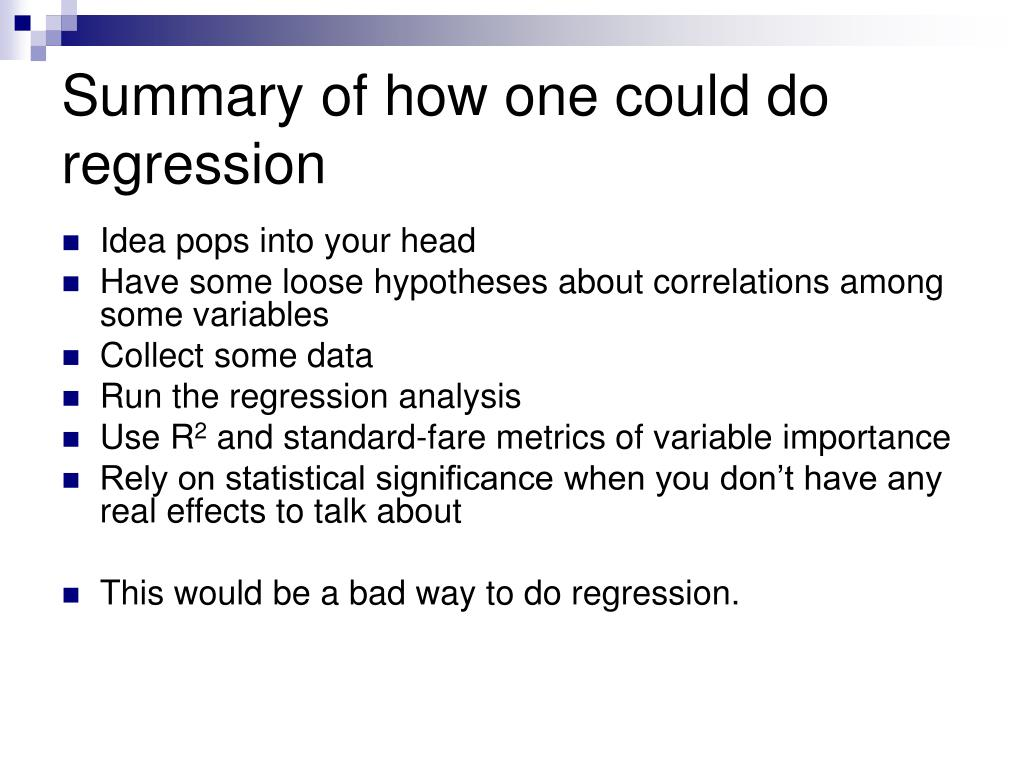 Summary of how one could do regression