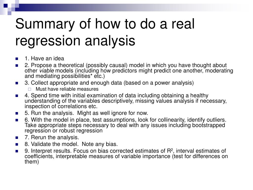 Summary of how to do a real regression analysis