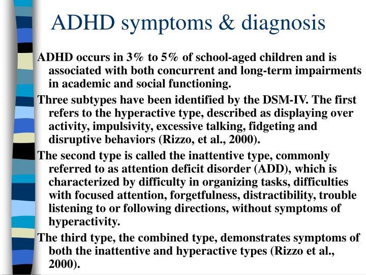 Adhd symptoms diagnosis