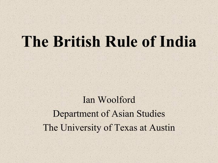 the british rule of india n.
