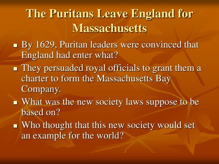 The Puritans Leave England for Massachusetts