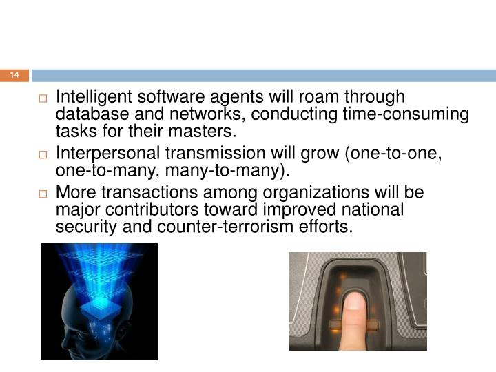 Intelligent software agents will roam through database and networks, conducting time-consuming tasks for their masters.