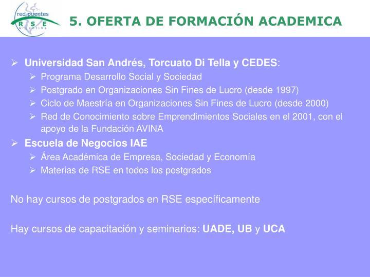 5. OFERTA DE FORMACIÓN ACADEMICA