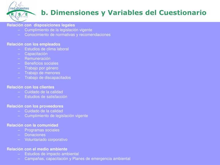 b. Dimensiones y Variables del Cuestionario