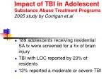 impact of tbi in adolescent substance abuse treatment programs 2005 study by corrigan et al