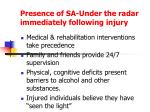 presence of sa under the radar immediately following injury