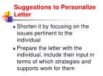 suggestions to personalize letter